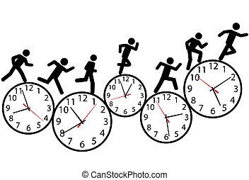 væddeløb, løb, folk, symbol, clocks, tid