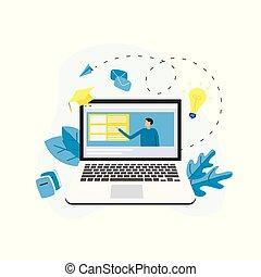 væv, begreb, dataskærm, afstand, teacher., laptop, kurs, online, e-learning, undervisning, eller