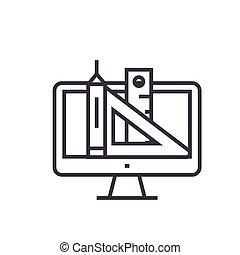 væv, begreb, tegn, isoleret, beherskeren, symbol, vektor, illustration, baggrund, ikon, beklæde, pen, redskaberne, konstruktion, tynd