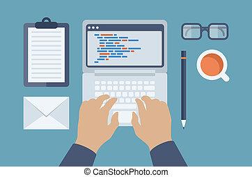 væv, html., programmering, illustration, lejlighed