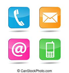 væv, kontakt os, iconerne