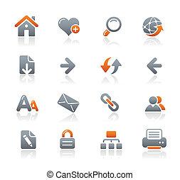 væv navigation, grafit, /, iconerne