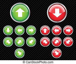 væv, retning, sæt, aqua, klippe, nogen, knapper, vektor, let, arrows., size., 2.0, style.
