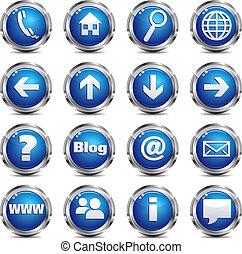 væv, sæt, og, -, site, æn, ikon internet