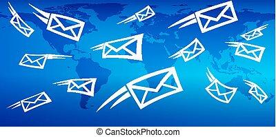 væv, sende, markedsføring, globale, baggrund, messaging, post, email