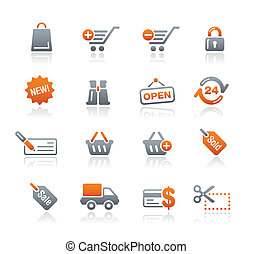 væv shopping, grafit, /, iconerne