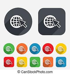 væv, vid, symbol., tegn, internet, verden, icon.