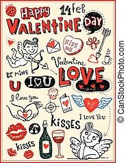 valentine, doodles