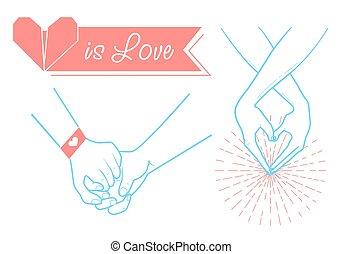 valentine's, hænder, constitutions, dag, folk