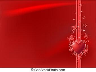 valentine's, rød baggrund, dag
