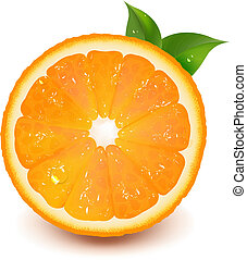 vand, appelsin, nedgang, blad, halve