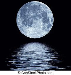 vand, fulde, hen, måne