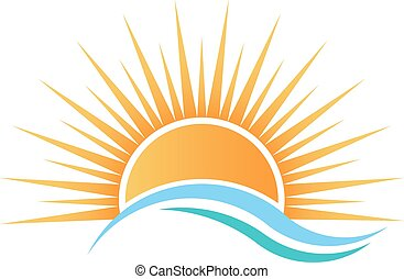 vand, hen, solskin, waves.