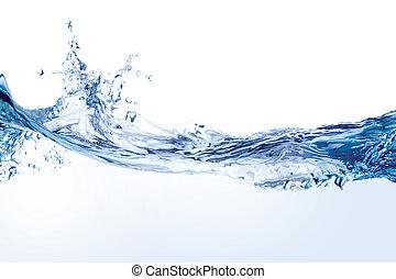 vand, hvid, plaske, isoleret