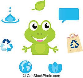 vand, iconerne, symboler, frø, cute, grønne, karakter, natur, økologi