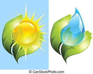 vand, sol, fortsætte, grønne, hænder