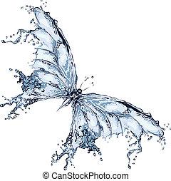 vand, sommerfugl, plaske