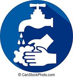 vask, ikon, din, lejlighed, hænder, behage