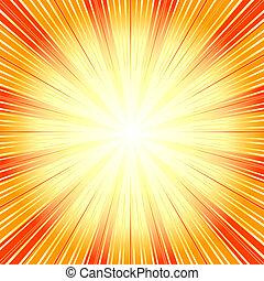 (vector), baggrund, abstrakt, sunburst, appelsin