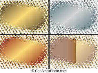 (vector), gylden, ramme, samling, sølvlignende