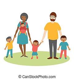 vector., væddeløb, tre, familie, cartoon, children., ilustration, blandet