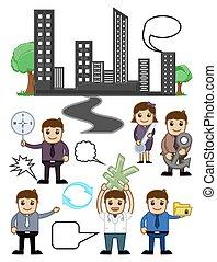 vectors, cartoon, firma, grafik