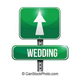 vej underskriv, illustration, bryllup