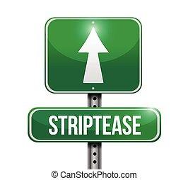 vej underskriv, illustration, striptease