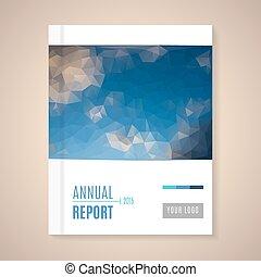 vektor, årlig, afdækket, rapport, illustration