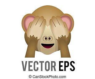vektor, øjne, brun, afdækning, ing hænder, onde, ikon, se, zeseed, abe, mizaru