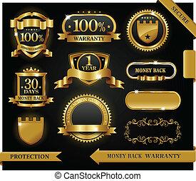 vektor, 100%, guaranteed, etikette, tilfredshed, beskyttelse, tegn