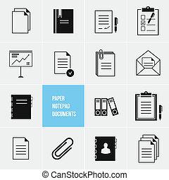 vektor, avis, dokumenter, ikon, notepad