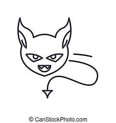 vektor, baggrund., tegn, begreb, hvid, udkast, ikon, editable, illustration, isoleret, onde, væv formgiv, beklæde, lineære, tynd, symbol, den agterste roer