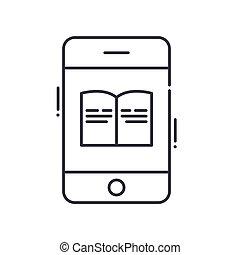 vektor, baggrund., tegn, begreb, hvid, udkast, ikon, editable, illustration, isoleret, væv formgiv, beklæde, lineære, tynd, symbol, phonebook, den agterste roer