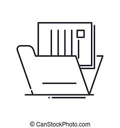 vektor, baggrund., tegn, dokumentation, begreb, hvid, udkast, ikon, editable, illustration, isoleret, væv formgiv, beklæde, lineære, tynd, symbol, den agterste roer