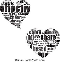 vektor, begreb, constitutions, medier, etiketten, sociale, glose boble, synes, sky