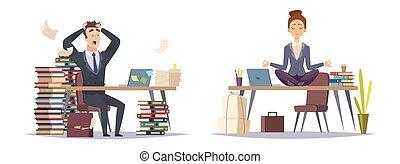 vektor, begreb, firma, organiser, to, businesspeople, panicked, deadlinen, forretningsmand, woman., type