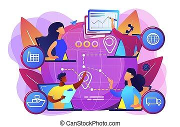 vektor, begreb, kæde, forråd, illustration, ledelse