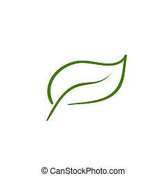 vektor, blad, natur, ikon