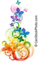 vektor, blomster, baggrund