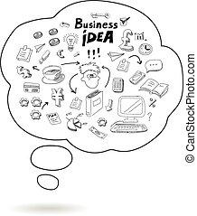 vektor, boble, ide, doodle, ikon, isoleret, firma, tale, infographics, illustration