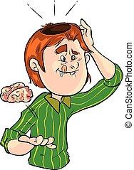 vektor, brainless, illustration, mand