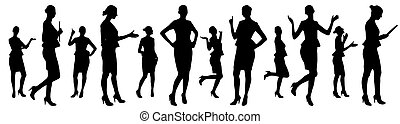 vektor, businesswoman, sæt, silhouettes., forskellige, opstille, illustration