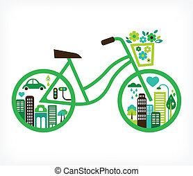 vektor, byen, -, cykel, grønne