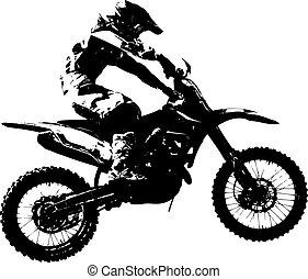 vektor, championship., motocross, participates, rider, illustration.