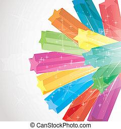 vektor, farverig, illustration, gnistre, stjerner, baggrund, 3