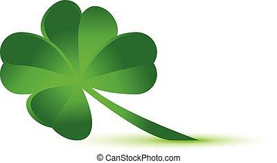 vektor, fire, ikon, kløver, grønnes blad, symbol
