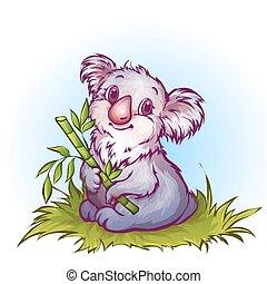 vektor, firmanavnet, koala, cartoon, illustration