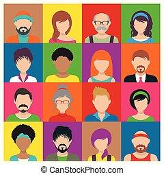 vektor, folk, avatar, iconerne