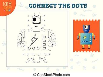 vektor, forbinde, prikker, boldspil, børn, illustration